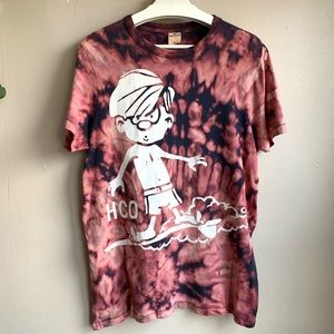 Hollister surfing tie dyed distressed graphic T